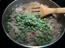 Ground Pork Diced Onion and Green Peas